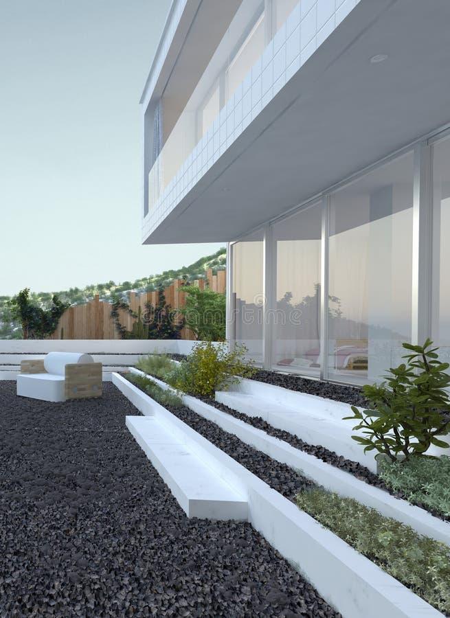 Patio de caillou devant une maison moderne illustration stock image 41498580 - Devant de maison ...