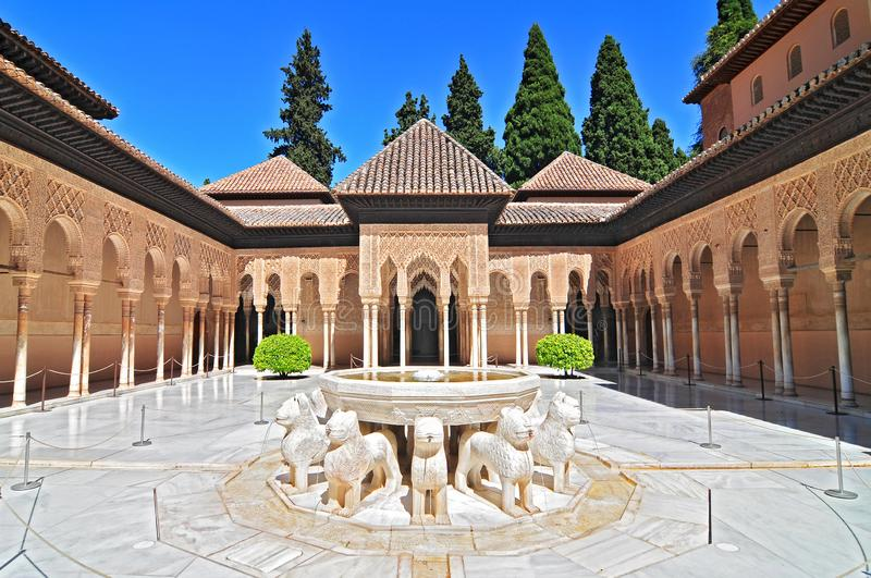 Patio de los Leones Patio of the Lions in the Palacios Nazaries, The Alhambra, Granada, Andalucia, Spain. royalty free stock images