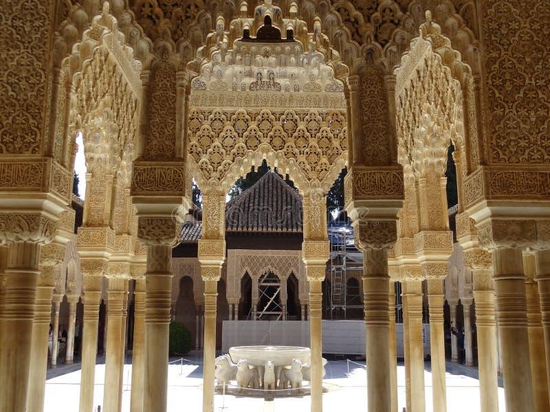 Patio De Los Leones w Alhambra granada Hiszpanii zdjęcia royalty free
