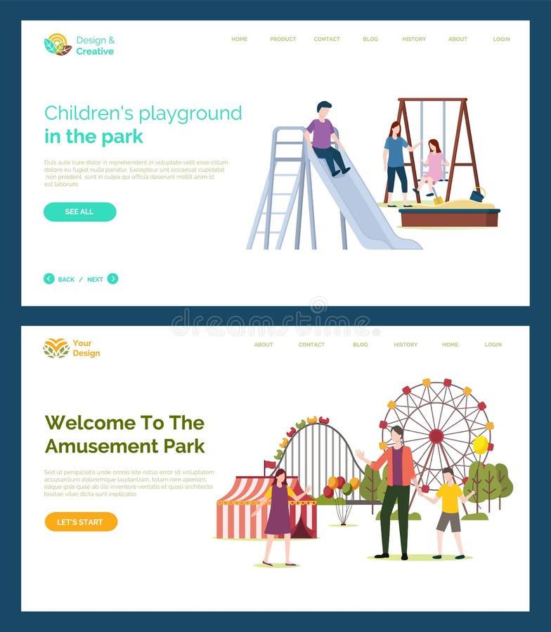 Patio de los niños, recepción al parque de atracciones ilustración del vector