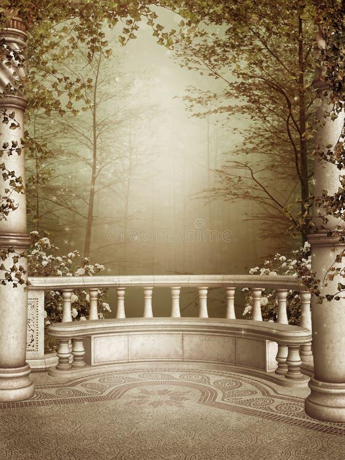 Patio de marbre avec des vignes illustration de vecteur