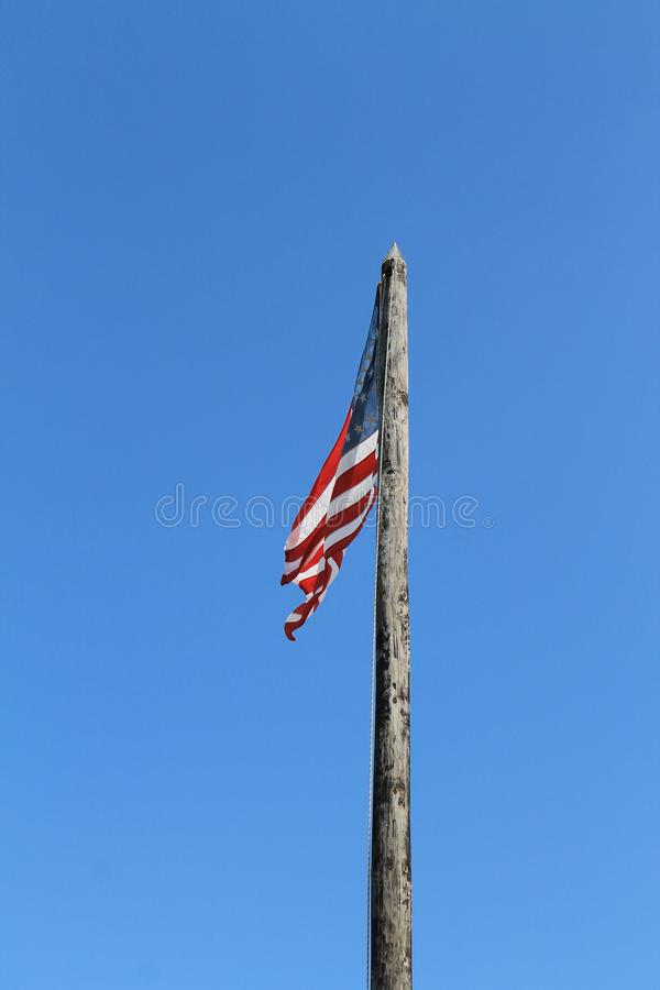 Patio de taylor del fuerte y bandera americana fotografía de archivo
