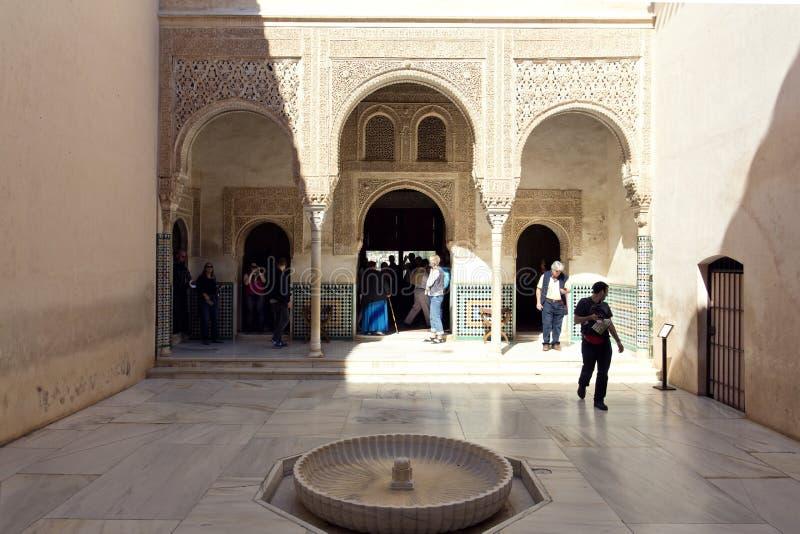 Patio del Mexuar,会议室的法院,在阿尔罕布拉宫, Gra 库存图片