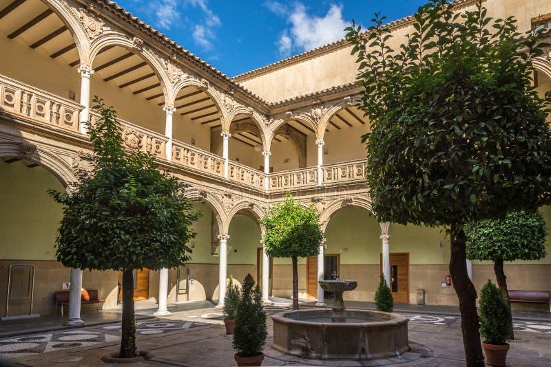 Patio del palazzo Jabalquinto - costruzione dell'università a Baeza, Spagna immagine stock