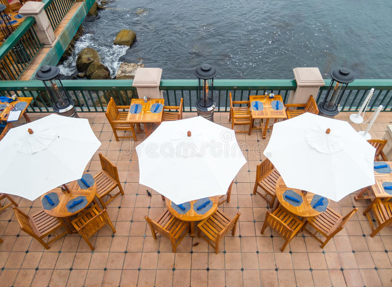 Patio dining. Outdoor dining on the Monterey Bay, California stock images