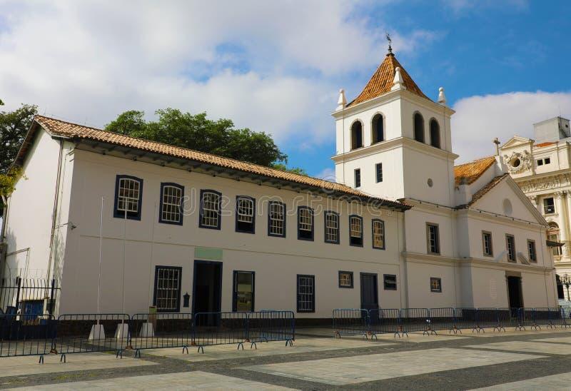 Patio do Colegio in Sao Paulo van de binnenstad, Brazilië royalty-vrije stock afbeeldingen