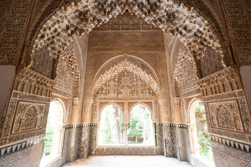 Patio du détail de pièce de lions d'Alhambra image libre de droits