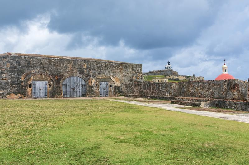 Patio at El Morro in Old San Juan. Patio at el morro a san juan national historic site also designated a world heritage site and run by the national park service royalty free stock photos