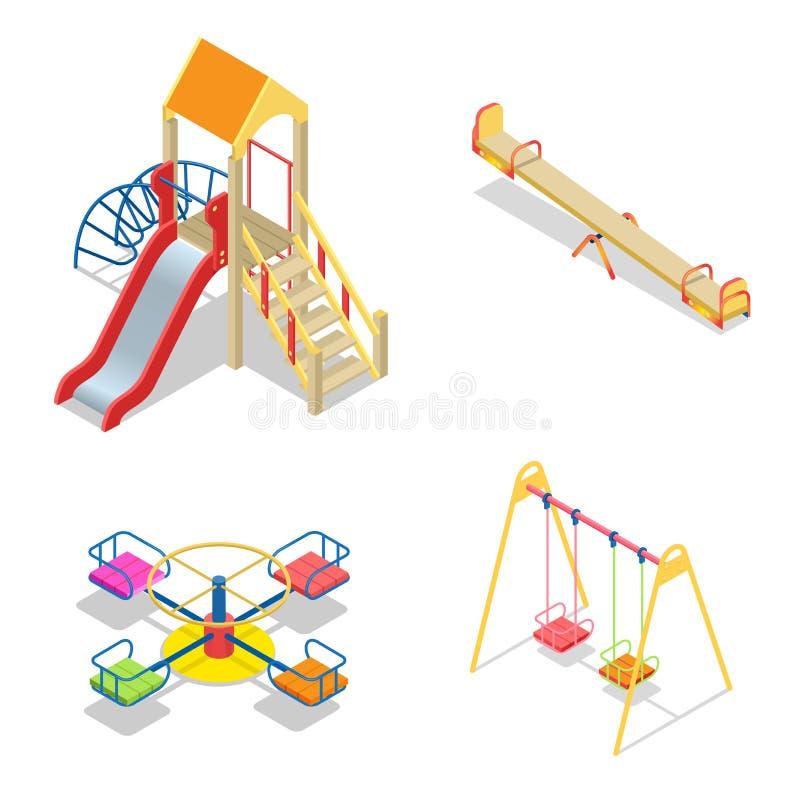 Patio Elementos del tema de la diapositiva del patio Iconos isométricos del patio de los niños fijados De alta calidad isométrico ilustración del vector
