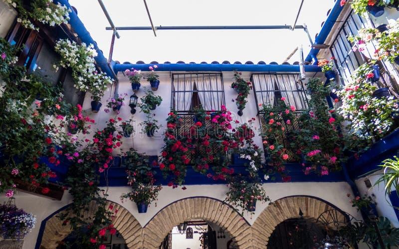 Patio flor-adornado tradicional en ?ordoba, España imagen de archivo