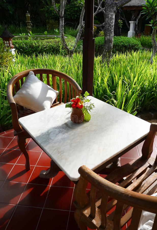 Download Patio Furniture Of A Balinese Garden Stock Photo   Image: 39757225