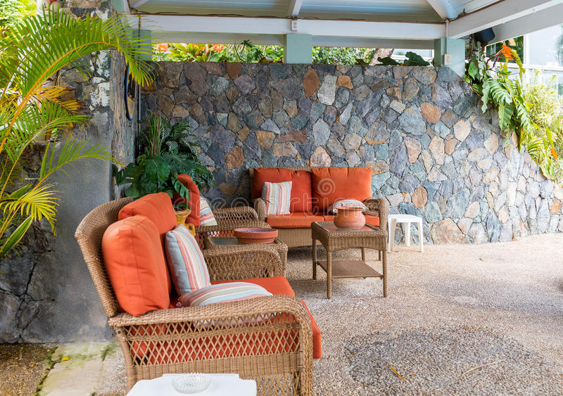 Patio Furniture With Orange Cushion Stock Photo Image 48322686