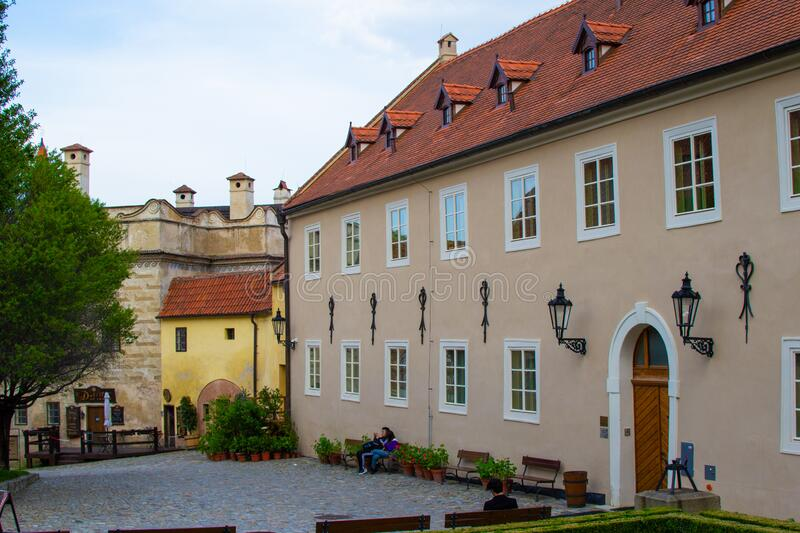 Patio or garden in the entrance of the State Castle of Cesky Krumlov or Cesky Krumlov Castle, one of the most important. Monuments in the town Czech Republic stock photo