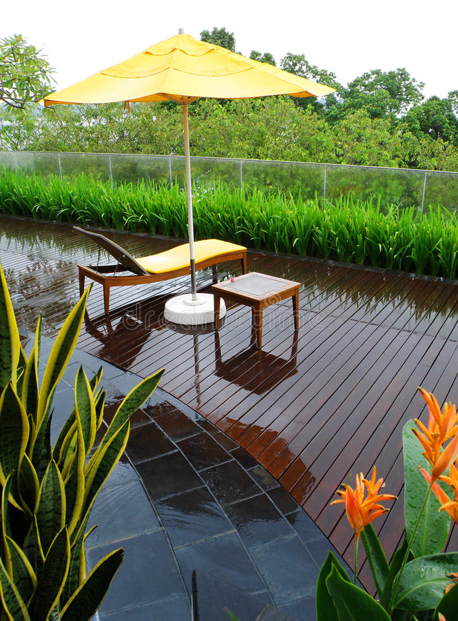 Patio garden after rain stock images