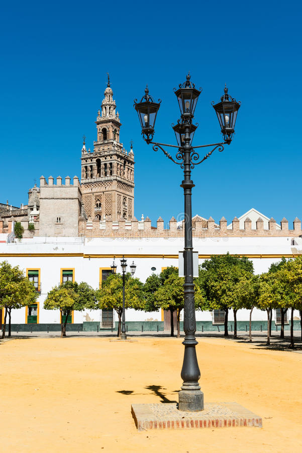 Patio and Giralda in Seville. View of the Giralda, the bell tower of the Cathedral of Seville in Spain, from a traditional orange garden. Originally the tower royalty free stock images