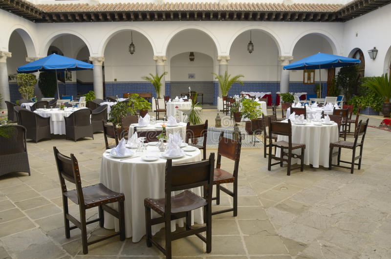 Patio hotel in Tangier royalty free stock image