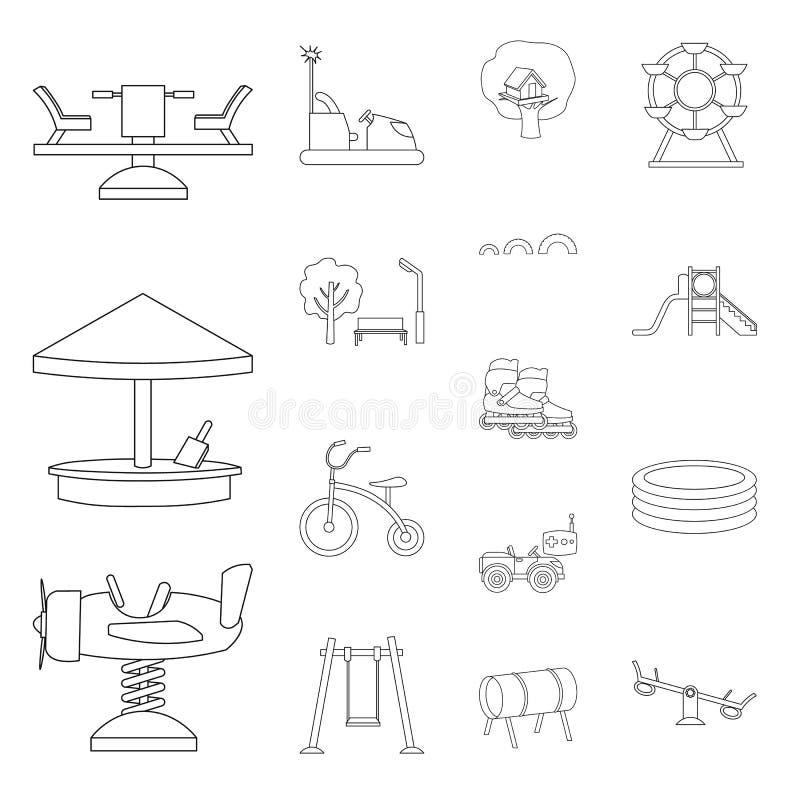 Patio, iconos del esquema del entretenimiento en la colección del sistema para el diseño Web de la acción del símbolo del vector  libre illustration