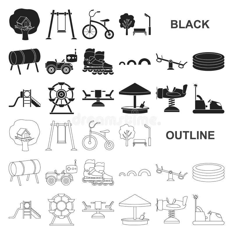 Patio, iconos negros del entretenimiento en la colección del sistema para el diseño Web de la acción del símbolo del vector de la ilustración del vector