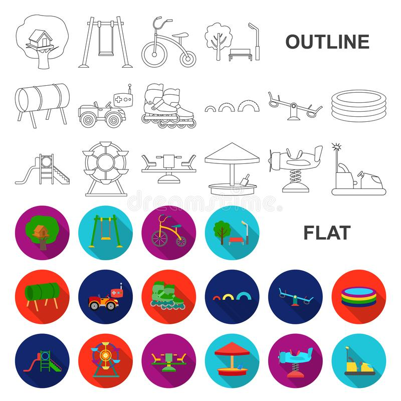 Patio, iconos planos del entretenimiento en la colección del sistema para el diseño Web de la acción del símbolo del vector de la libre illustration