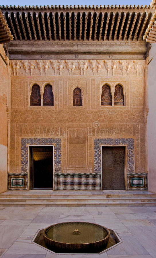 Patio in moorish style stock images
