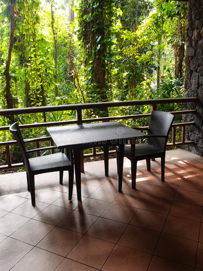 Patio with natural tropical forest view stock photography