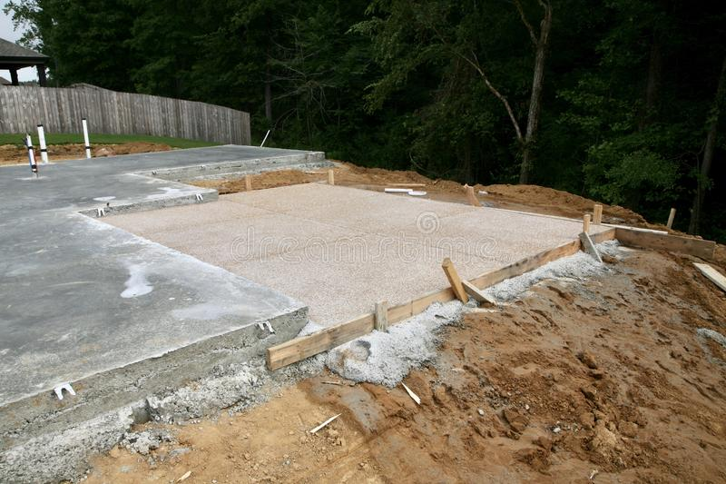 Patio and Outdoor Living Foundation. The foundation has been poured in concrete for a patio and outdoor living of a new residential home stock image