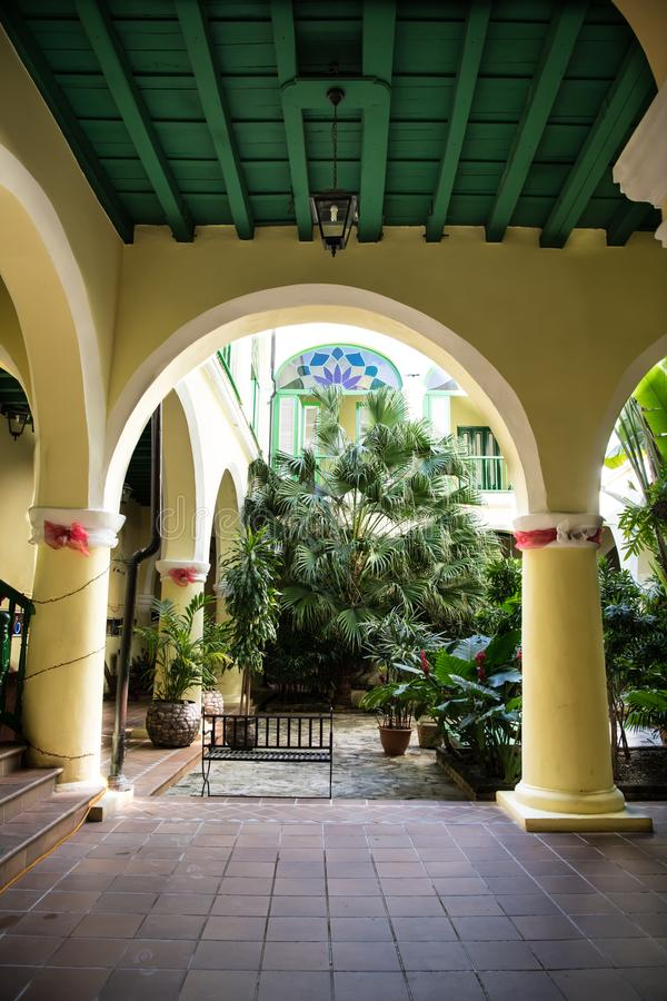 Entrance to courtyard of former Palace, Palatial Building, Havana, Cuba stock photography