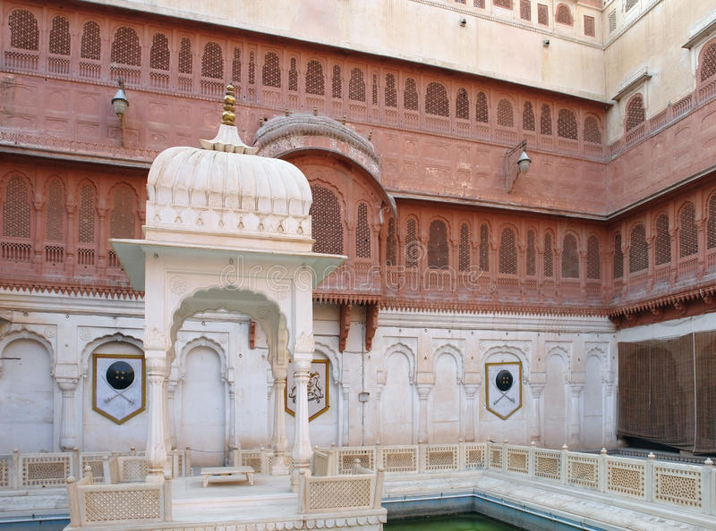 Patio with pavilion. Patio with small pavilion in Bikaner, a city inIndia royalty free stock photo