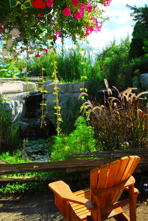 Patio And Pond Landscaping Stock Photos