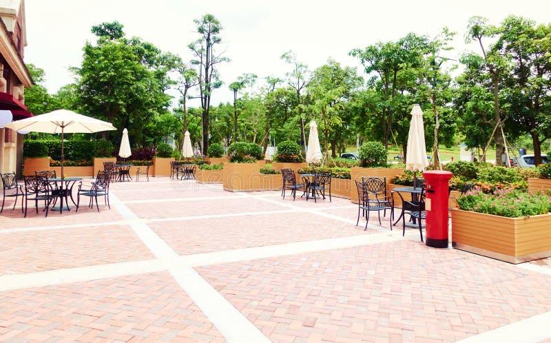 outdoor patio of restaurant street cafe royalty free stock photos