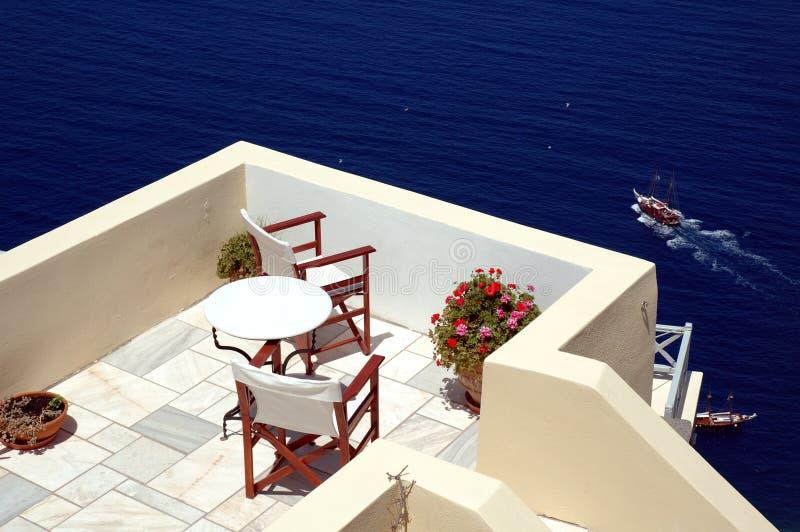 Patio on Santorini royalty free stock photos
