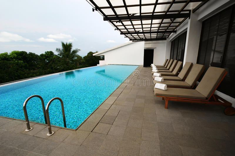 Patio swimming pool design royalty free stock photography
