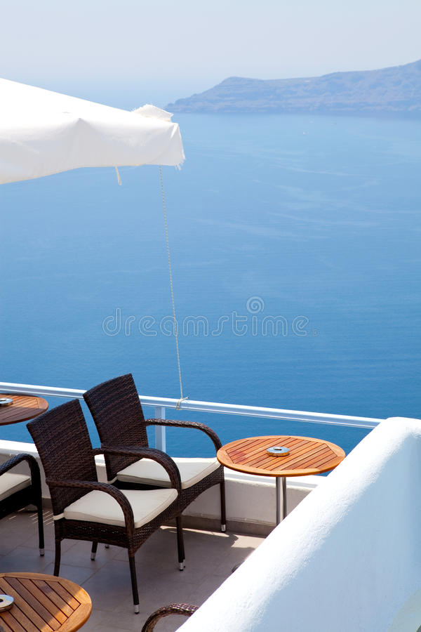 Patio in Thira, Santorini, Greece stock photo