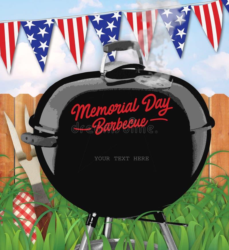 Patio trasero de la invitación de la barbacoa de Memorial Day stock de ilustración