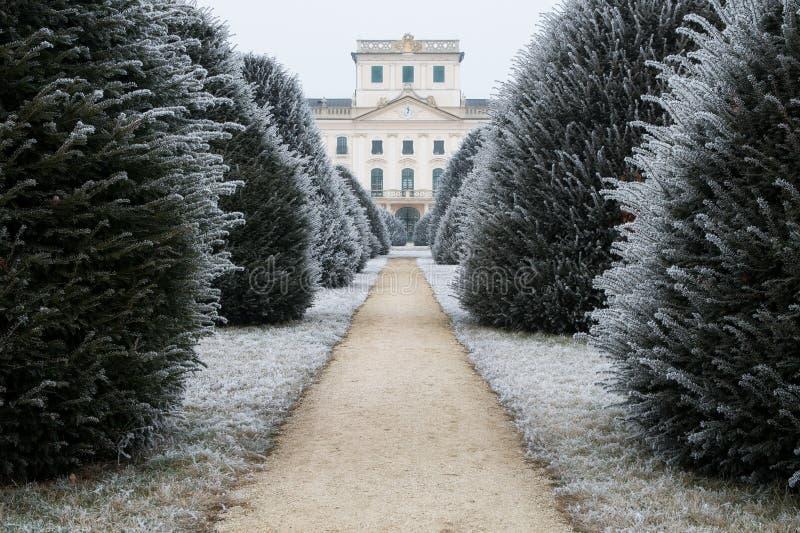 Patio trasero del castillo de Esterhazy en invierno con el camino de tierra, Fertod imagen de archivo