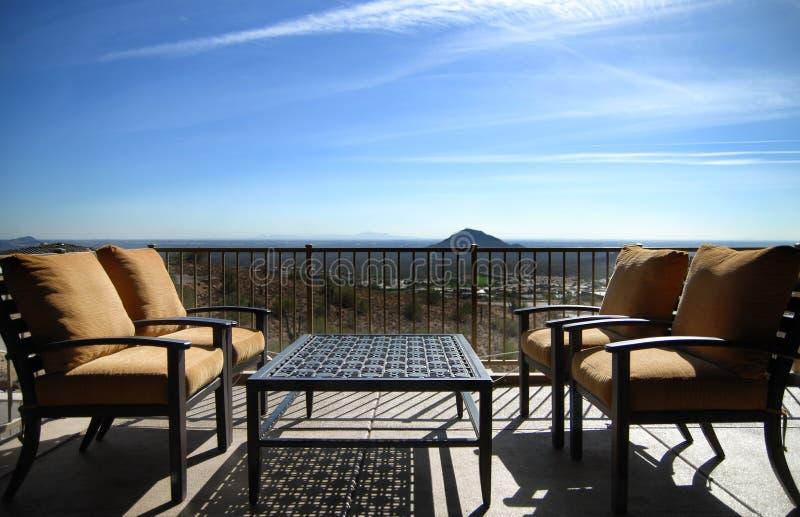 Patio with view of Arizona desert stock images