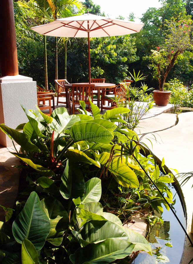 Patio with water landscaping stock photography