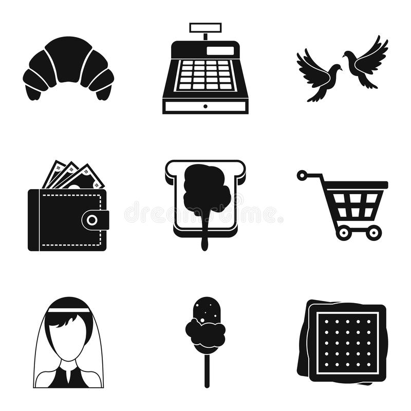 Patisserie icons set, simple style. Patisserie icons set. Simple set of 9 patisserie vector icons for web isolated on white background vector illustration