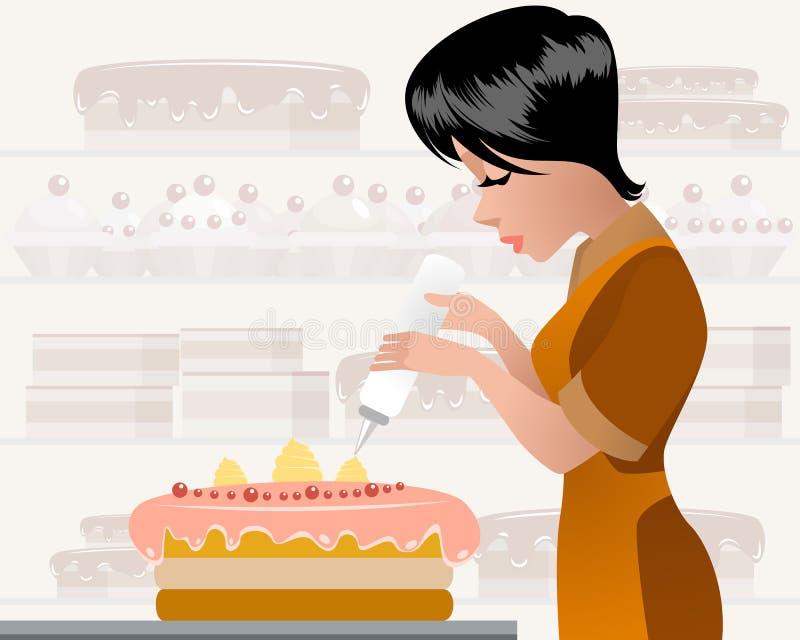 Patissier, der einen Kuchen verziert stock abbildung