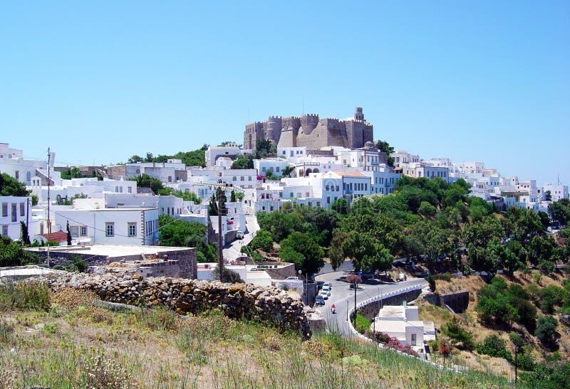 Patmos akropolis 图库摄影