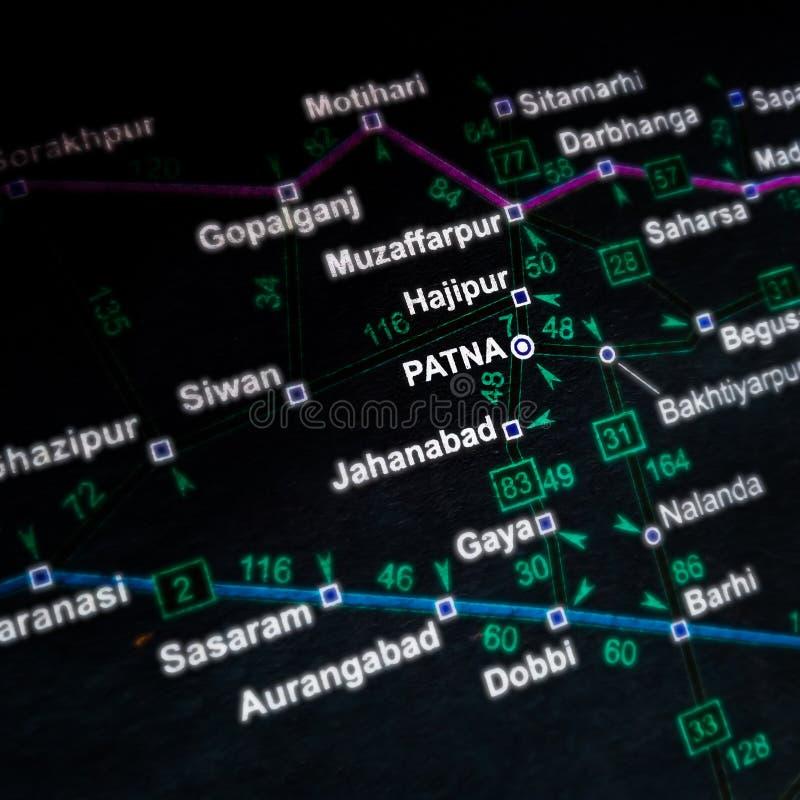 Patna City i delstaten Bihar i Indien som visar på en geografisk platskarta royaltyfri foto