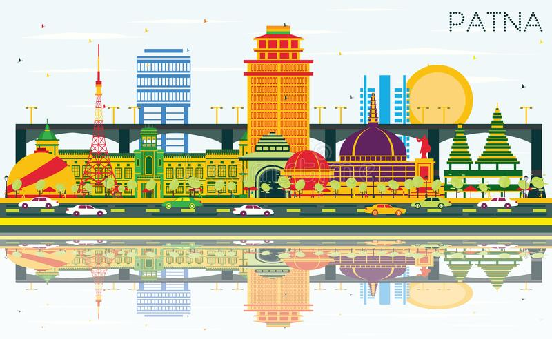 Patna India City Skyline with Color Buildings, Blue Sky and Reflections. Vector Illustration. Business Travel and Tourism Concept with Modern Architecture vector illustration