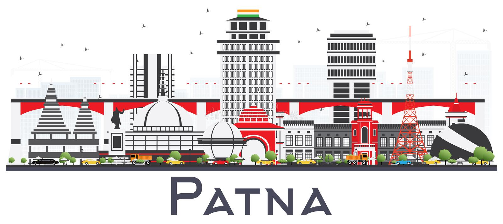 Patna India City Skyline with Gray Buildings Isolated on White. Vector Illustration. Business Travel and Tourism Concept with Modern Architecture. Patna stock illustration