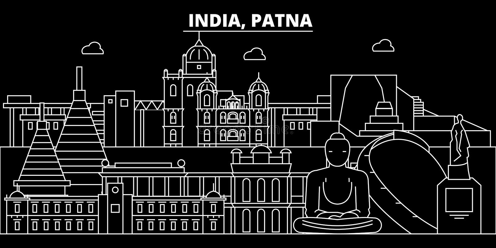 Patna silhouette skyline. India - Patna vector city, indian linear architecture, buildings. Patna travel illustration. Patna silhouette skyline. India - Patna vector illustration