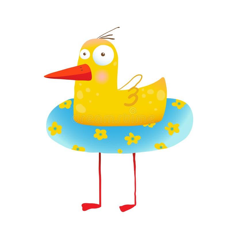 Pato amarillo chistoso de los niños con el círculo de la natación libre illustration