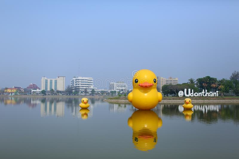 Pato amarillo de la paz en el parque público de Nong Prajak con el fondo del hospital de Udon Thani fotografía de archivo
