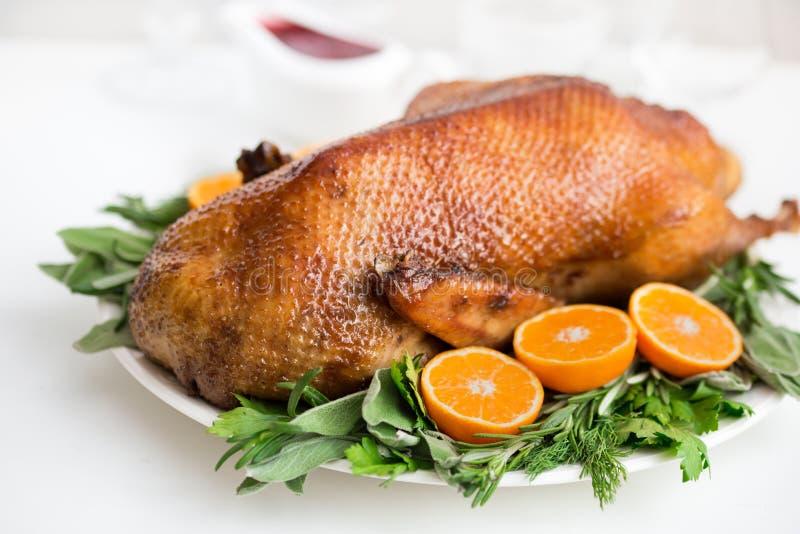 Pato asado en esmalte de la miel con las hierbas y las mandarinas picantes fotografía de archivo libre de regalías