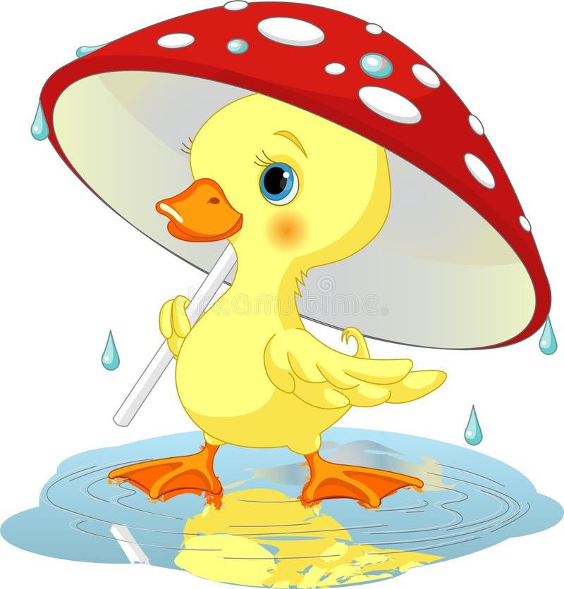 Pato bajo la lluvia ilustración del vector