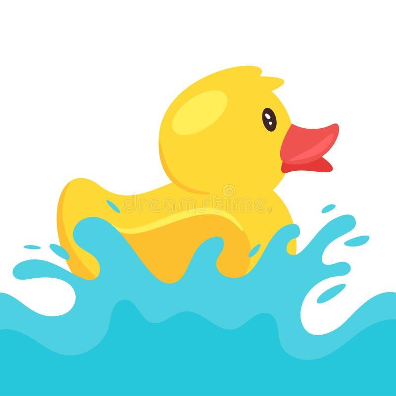 Pato de borracha amarelo que espirra a água ilustração do vetor
