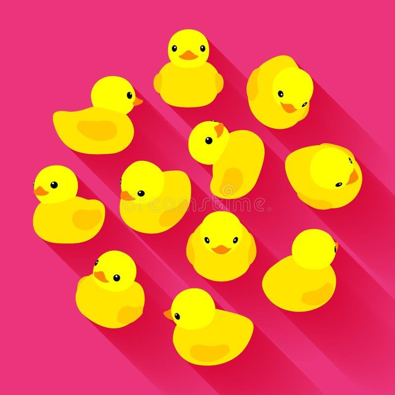 Pato de goma amarillo ilustración del vector